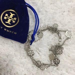 Tory Burch Triple Strand Silvertone Logo Bracelet